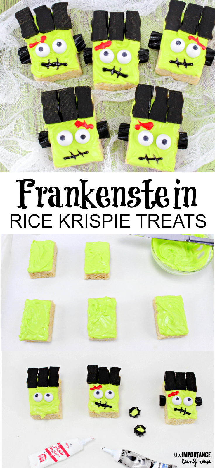 These Frankenstein Rice Krispie Treats are easy to make, and fun to eat!
