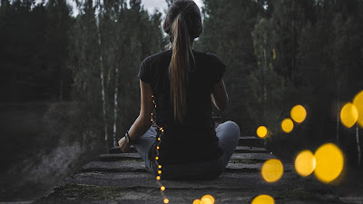 Chica sentada sobre puente de madera en el bosque de espaldas