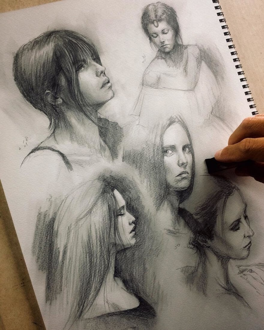 13-Training-Portrait-Study-Group-Yoshi-Portrait-Drawings-of-People-on-Instagram-www-designstack-co