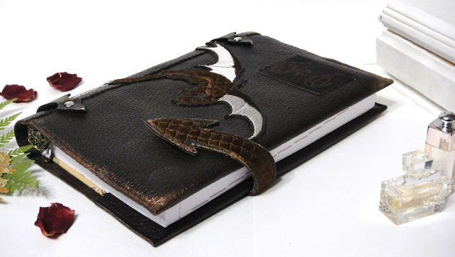Кожаный ежедневник в стиле фэнтези Дракон Коричневая кожа блокнот ручной работы, съемная обложка