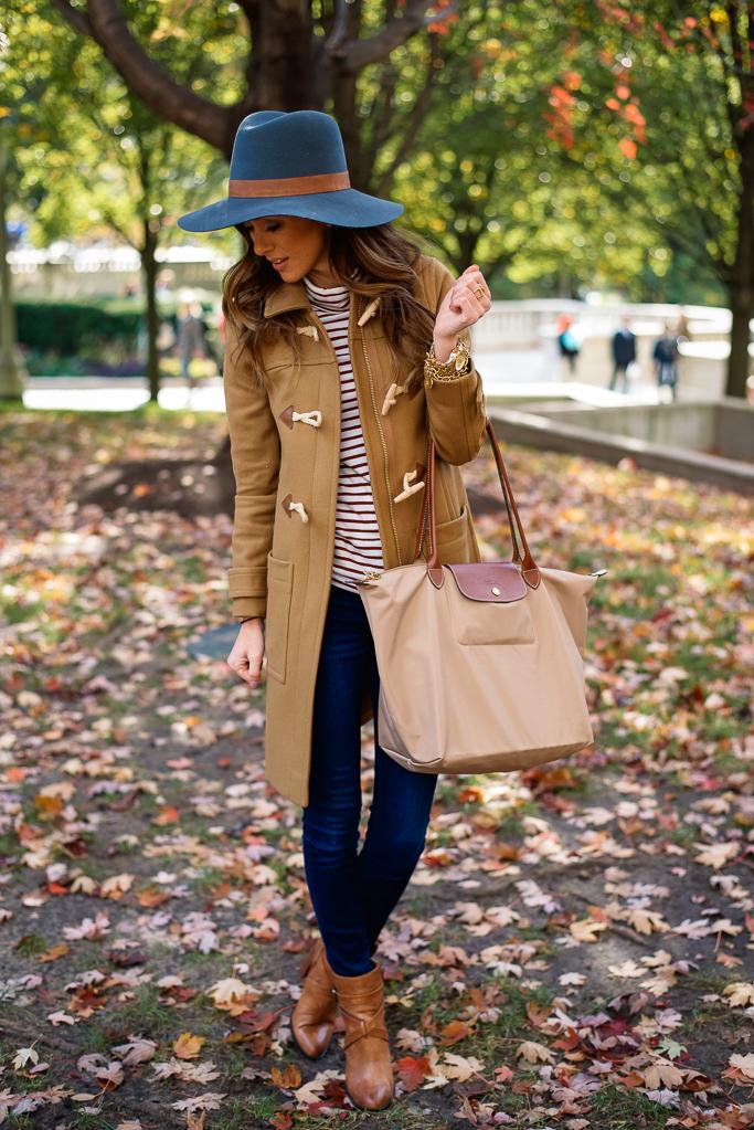 Fall In Chicago Camel Coat Stripe Turtleneck Alyson