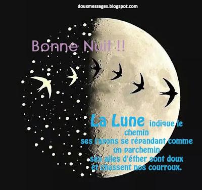 La Lune indique le chemin ses rayons se répandant comme un parchemin ses ailes d'éther sont doux et chassent nos courroux.