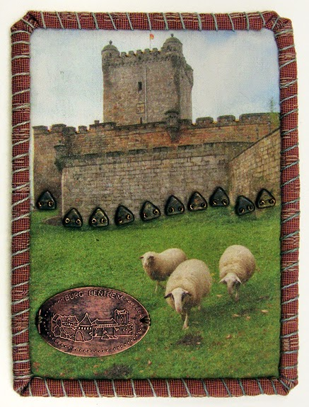 Robin Atkins, Travel Diary Quilt, detail, Bentheim Castle, Germany