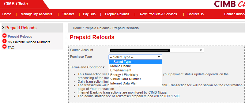 menu prepaid reloads