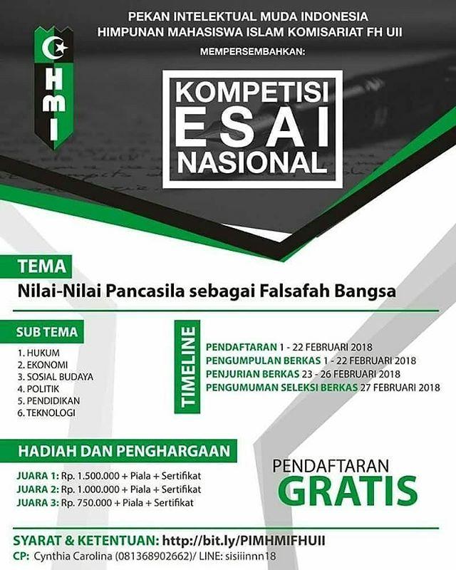 Lomba Menulis Esai Nasional 2018 Gratis Univ. Islam Indonesia