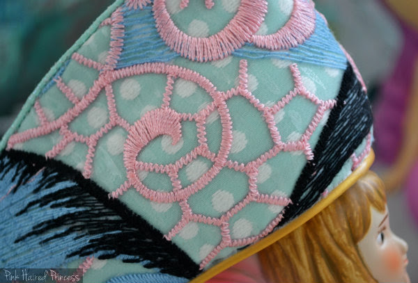Aquata pink embroidery detail