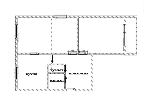 Перепланировка увеличила ванную комнату в трехкомнатной квартире в панельном доме