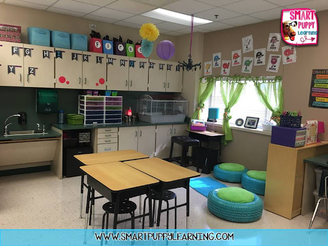 flexible seating, word wall, tire seats, colors