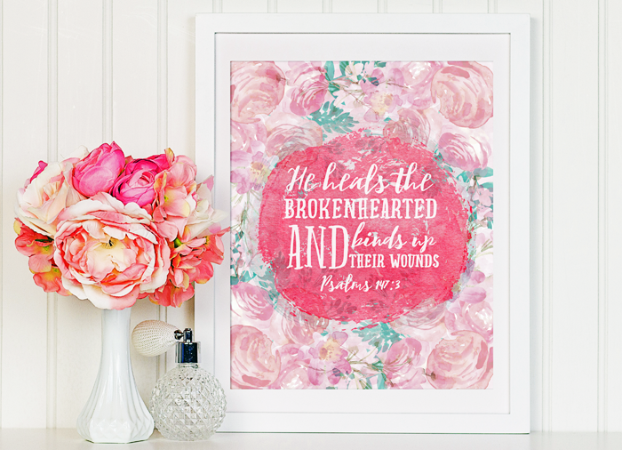 Free Watercolor Scripture Printable, featuring Psalms 147:3 | 8x10 | Instant Download