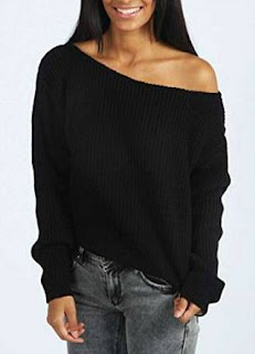 80s Off-Shoulder Baggy Jumper for Ladies