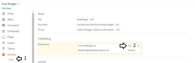 cara membuat blog di blogger dengan custom domain untuk domain sendiri