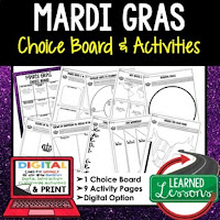 Mardi Gras Activities, Louisiana History, Digital Graphic Organizers