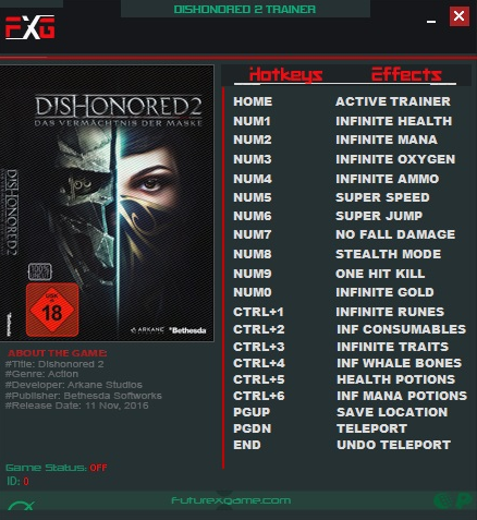 Dishonored 2 Trainer app
