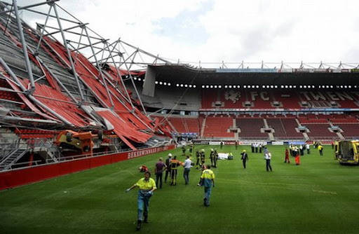 FC Twente's De Grolsch Veste Stadium is seen after a part of the newly constructed roof collapsed
