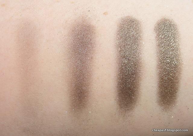 Laura Mercier Black Karat over no primer, Black Radiance eyeshadow primer, NYX Glitter Primer, and Too Faced Glitter Glue