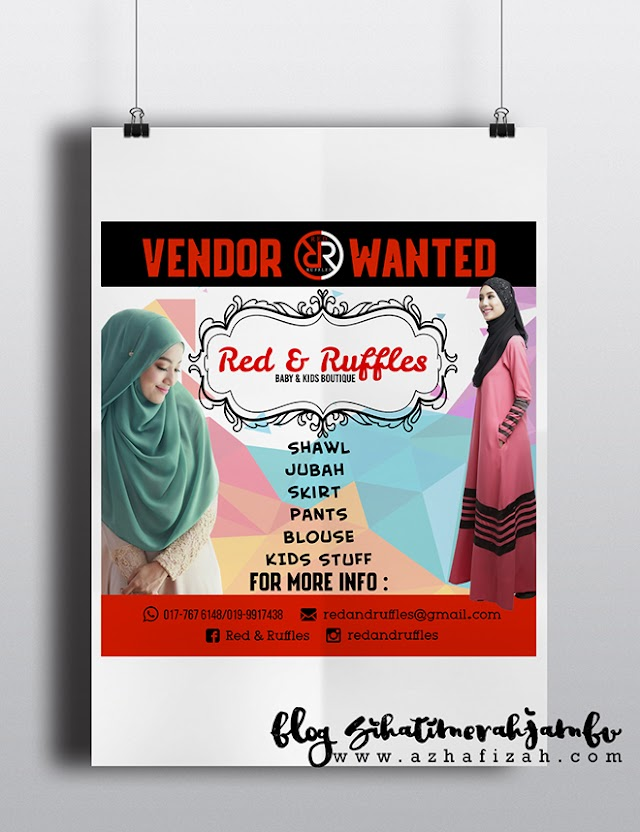Design Banner Iklan Vendor Wanted Baby & Kids Boutique Red & Ruffles