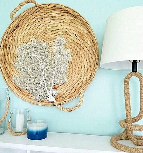 Wicker Basket Tray Wall Decor