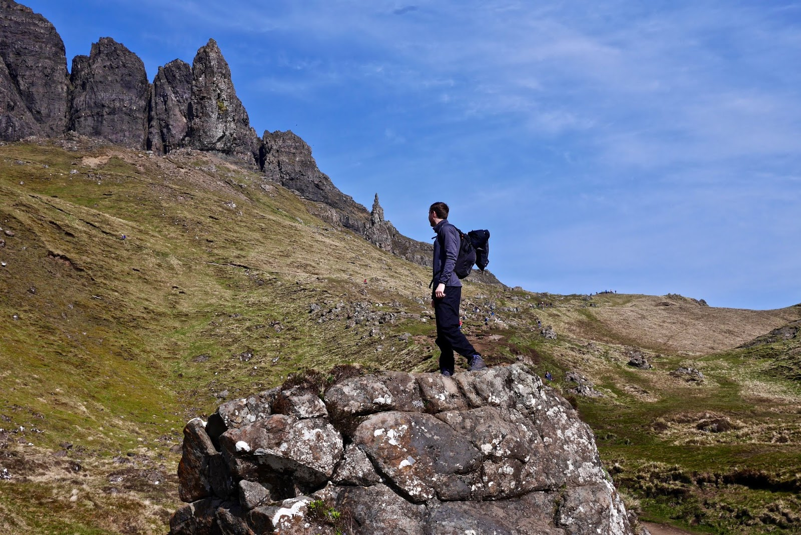 Old man of Storr, isle of Skye, , Almost Chic and Cal McTravels during their Scottish Island Hopping in the outer Hebrides