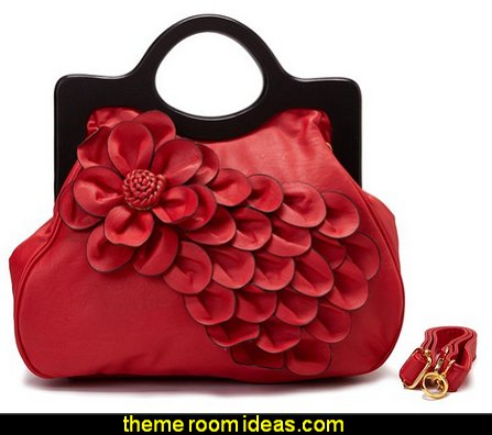 Rose Wood Handle Handbag  Bags - Handbags and More Bags! - shoulder bags - unique bags - evening bags - wallets - fashion bags - luggage - backpacks -  purse jewelery - novelty Kitsch  bags