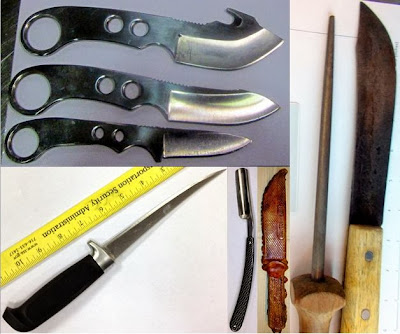 Left to Right, Top to Bottom: Knives Discovered at CLT, STL, BUF, BUF, IAH
