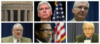 Photo Credit - Independent Underground News & Talk Michigan Governor Rick Snyder and his Flint Appointed Emergency Managers (L to R) Michael Brown, Ed Kurtz, Darrel Earley and Jerry Amborse.
