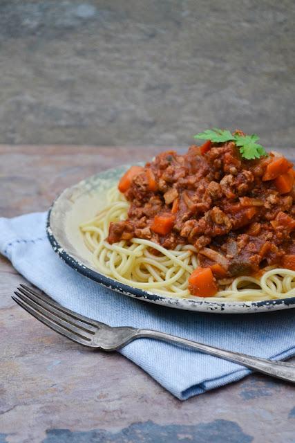 A bowl of Vegan Spaghetti Bolognese