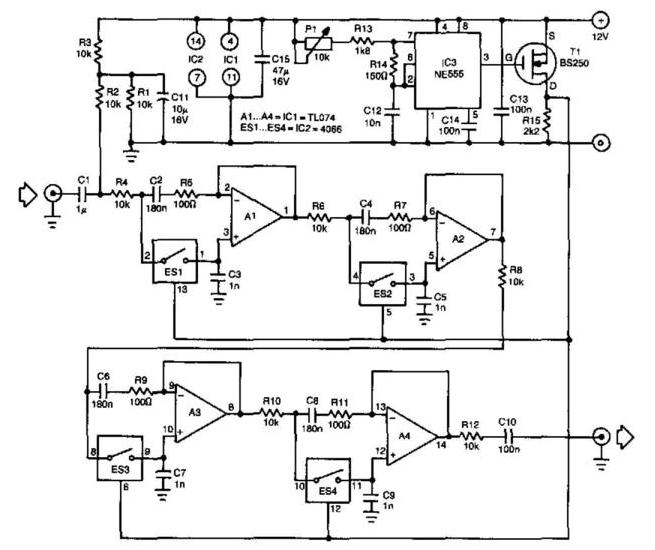 Tunable Bandpass Filter Circuit Diagram | Electronic