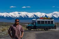 whereisbaer, van, vanlife, beard mountains snow caped kayak motorcyle pearl snap