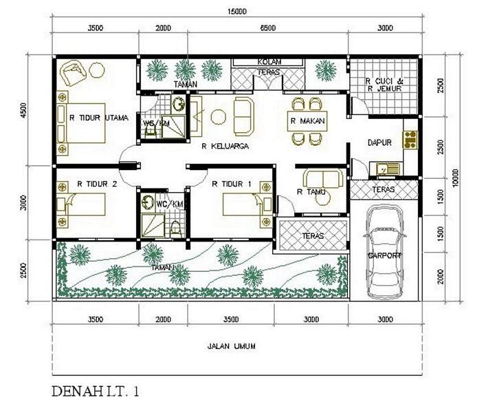 denah rumah minimalis 5 kamar tidur minimalis