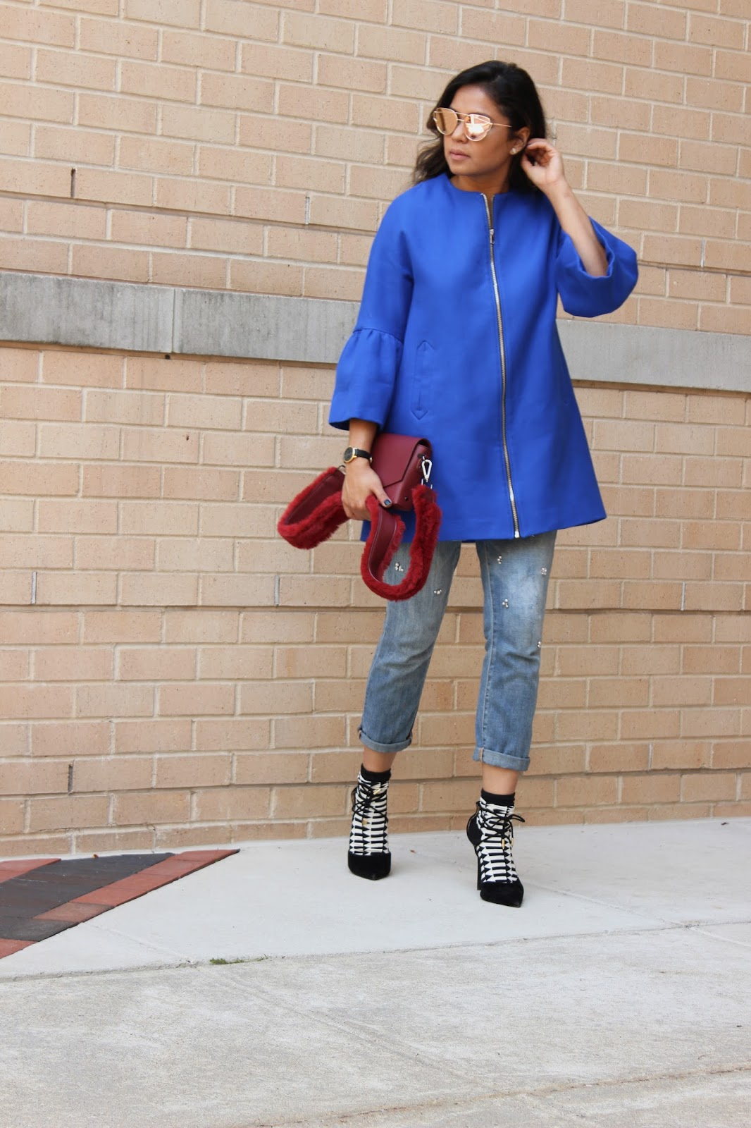 how to wear socks with sandals, high heels, fall fashion, trumpet sleeve blazer, embellished jeans, zara blue jacket , street style, bloger, fashion, style, myriad musings