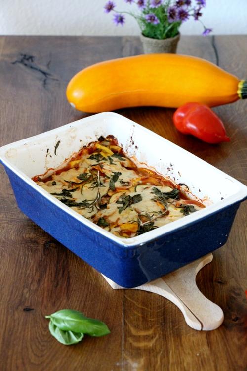 Zucchiniauflauf, low carb und vegan