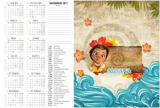 Calendario 2017 para imprimir gratis de Moana Bebé.