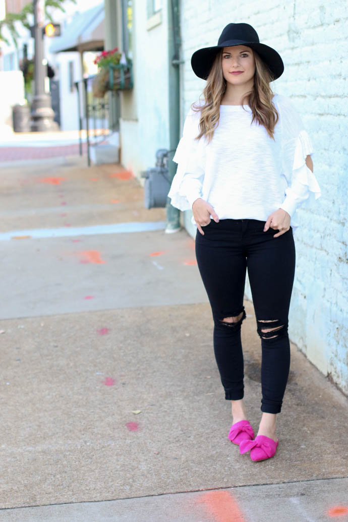 white ruffle sleeve sweater