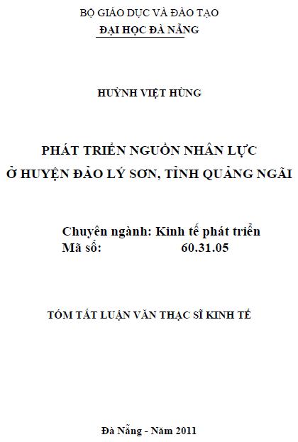 Phát triển nguồn nhân lực huyện Đảo Lý Sơn tỉnh Quảng Ngãi