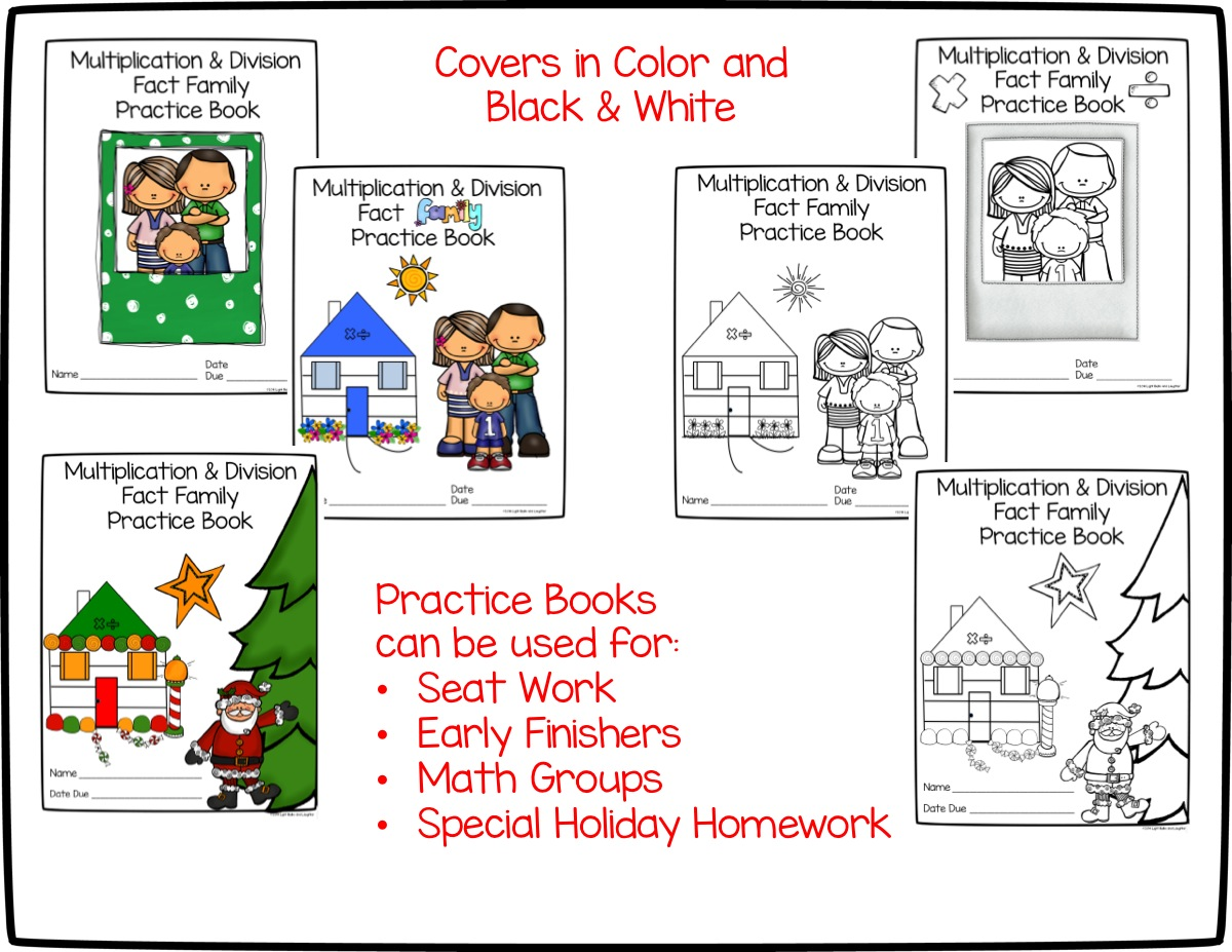 Multiplication and Division Fact Family Practice Pack Covers- Light Bulbs and Laughter