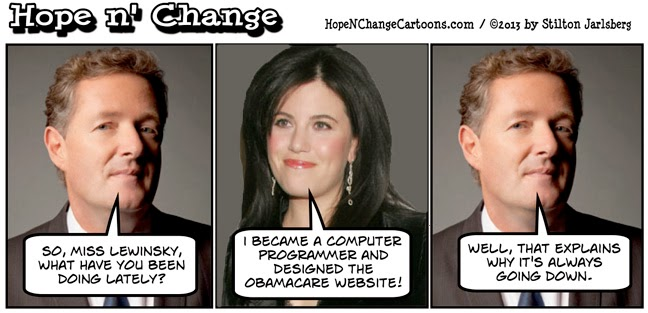 cartoons, conservative, healthcare.gov, hope and change, hope n' change, obama, obama jokes, obamacare, political, shutdown, stilton jarlsberg, tea party, lewinsky, piers morgan
