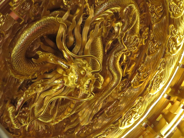 Golden dragon at the Giant Wild Goose Pagoda in Xi'an China
