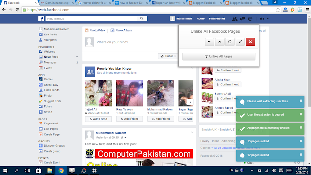 Facebook Page Unlike completed - Facebbok