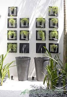 model taman vertikal pada tembok