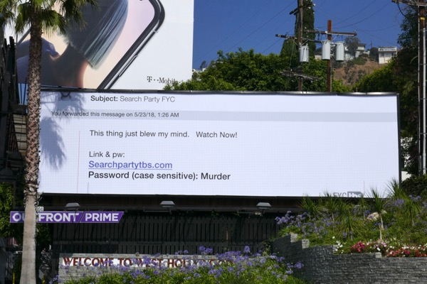 Search Party season 2 Emmy FYC email billboard