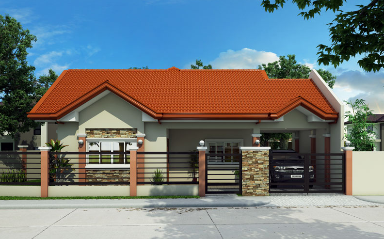 small bungalow house with free floor plan and interior design bahay ofw. Black Bedroom Furniture Sets. Home Design Ideas