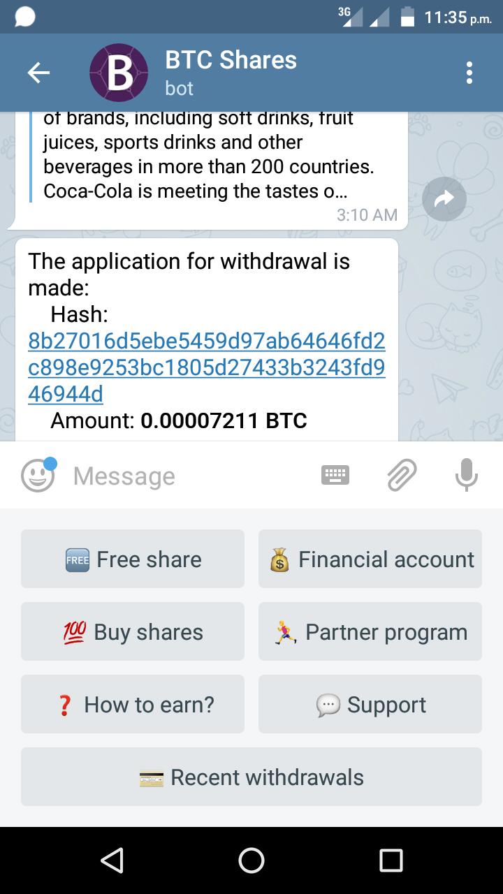 Earn bitcoin by telegram