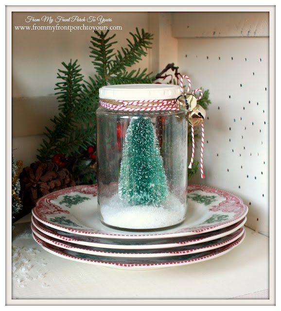 Farmhouse Christmas Kitchen-Bottle Brush Tree In Jar-Vingettes-From My Front Porch To Yours