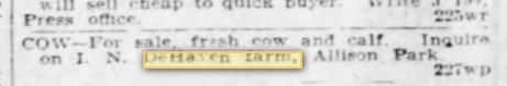DeHaven Farm mentioned in 1907 newspaper Shaler Twp PA