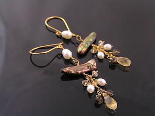 Biwa Pearl, Smokey Quartz and Citrine Earrings