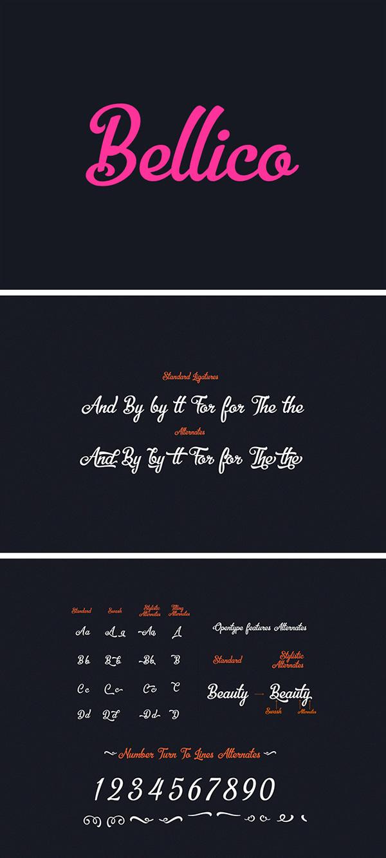 Download Kumpulan 30 Font Script Desainer grafis - Bellico Font