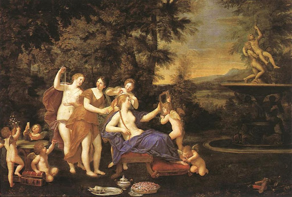 Venus Attended by Nymphs and Cupids by Francesco Albani , Classical mythology, Greek mythology, Roman mythology, mythological Art Paintings, Myths and Legends