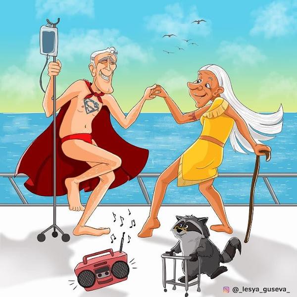 Artista russa ilustra personagens famosos em sua velhice, e Thor é adorável 15