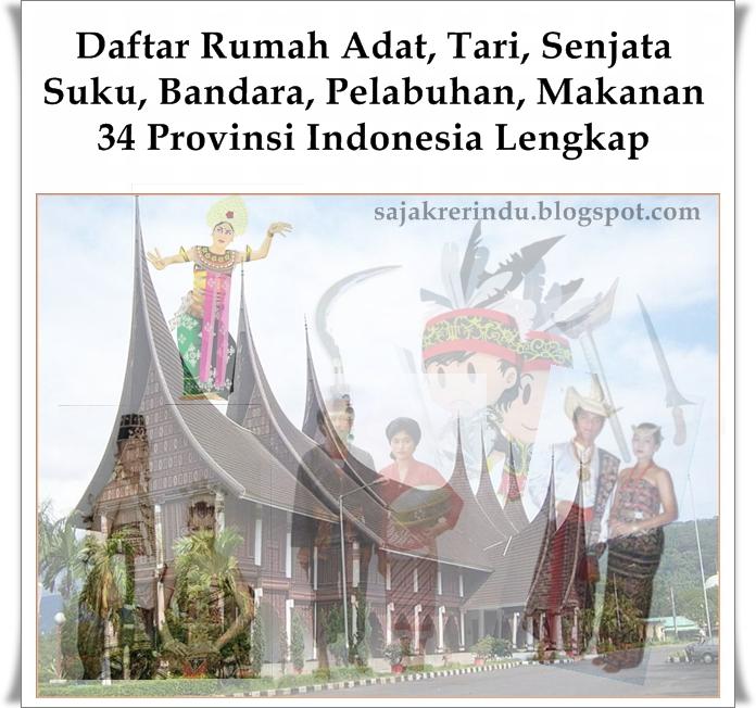 Rumah Adat Tari Senjata Makanan Suku Dll 34 Provinsi Lengkap Celoteh Sajakrerindu