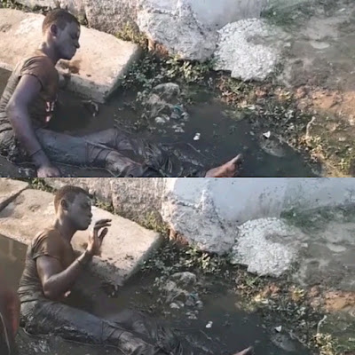 Thief loses his walking ability after he was caught and stripped off his charms in Surulere (Photos/Video)